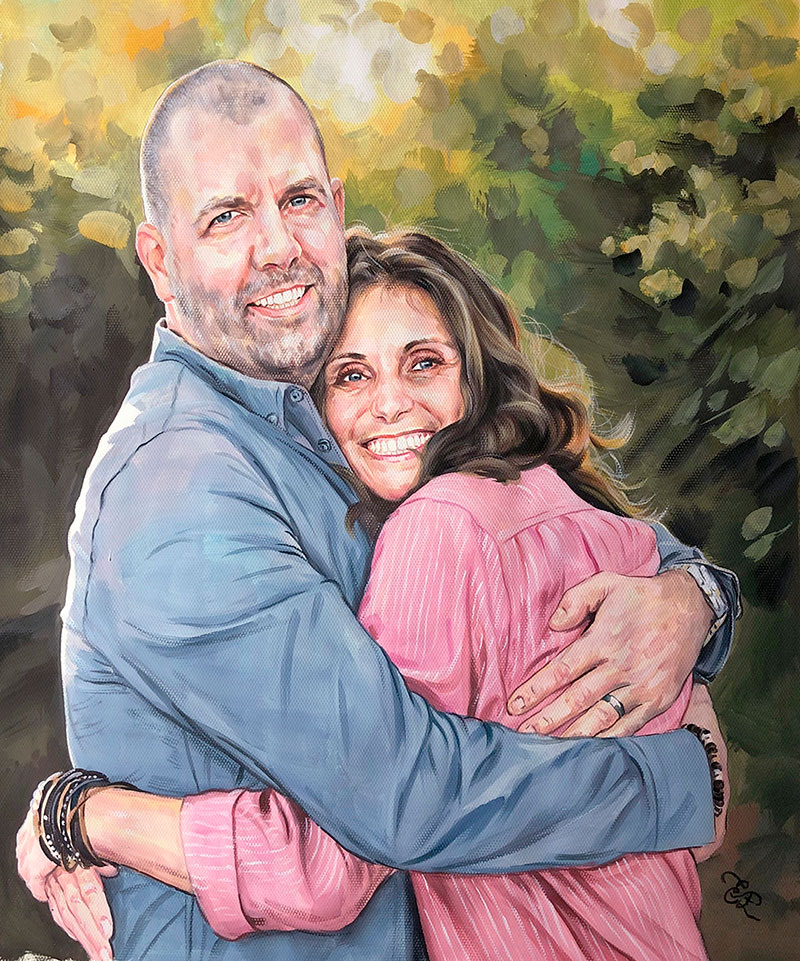 Beautiful pastel artwork of a couple