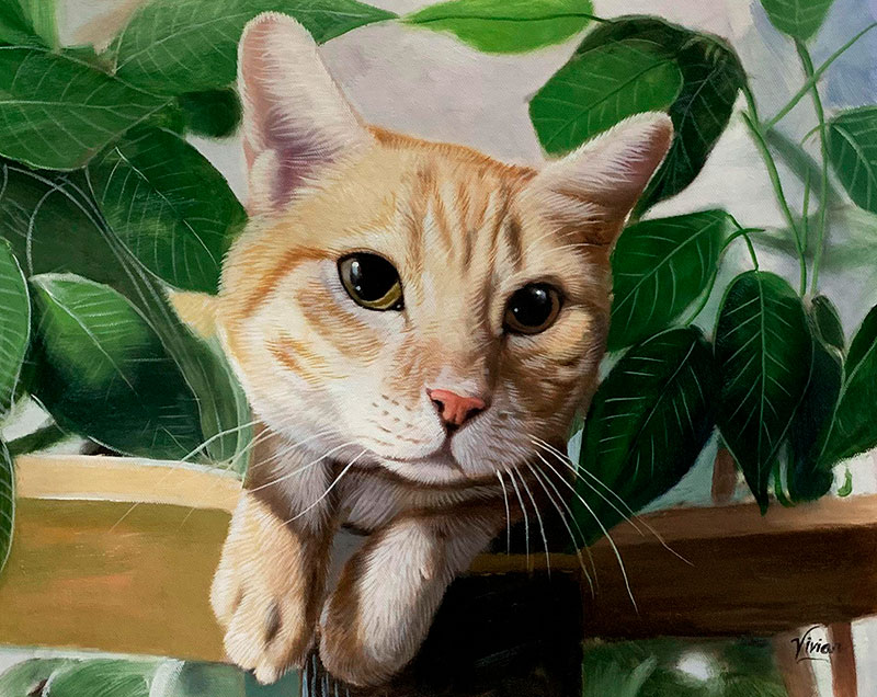 Hyper realistic oil artwork of a cat