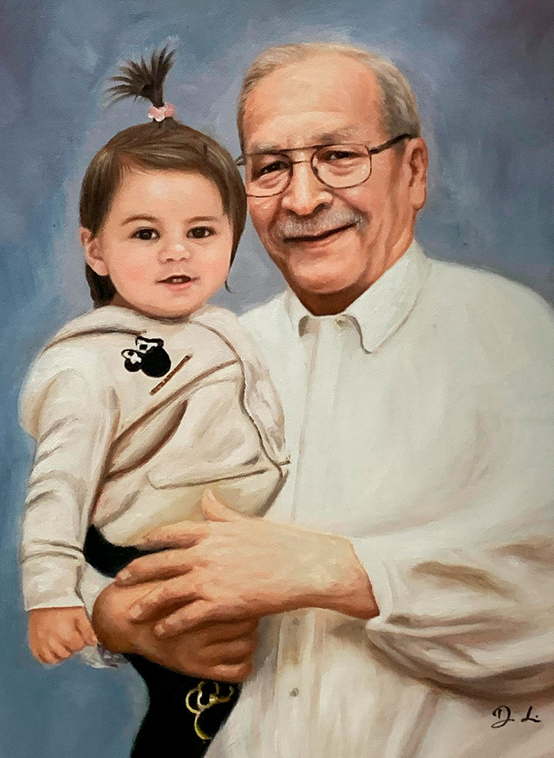 Beautiful oil painting of a grandfather and a granddaughter
