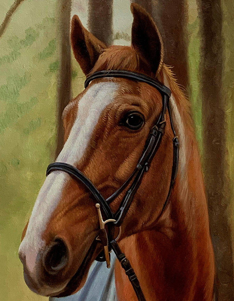 Close up oil artwork of a horse