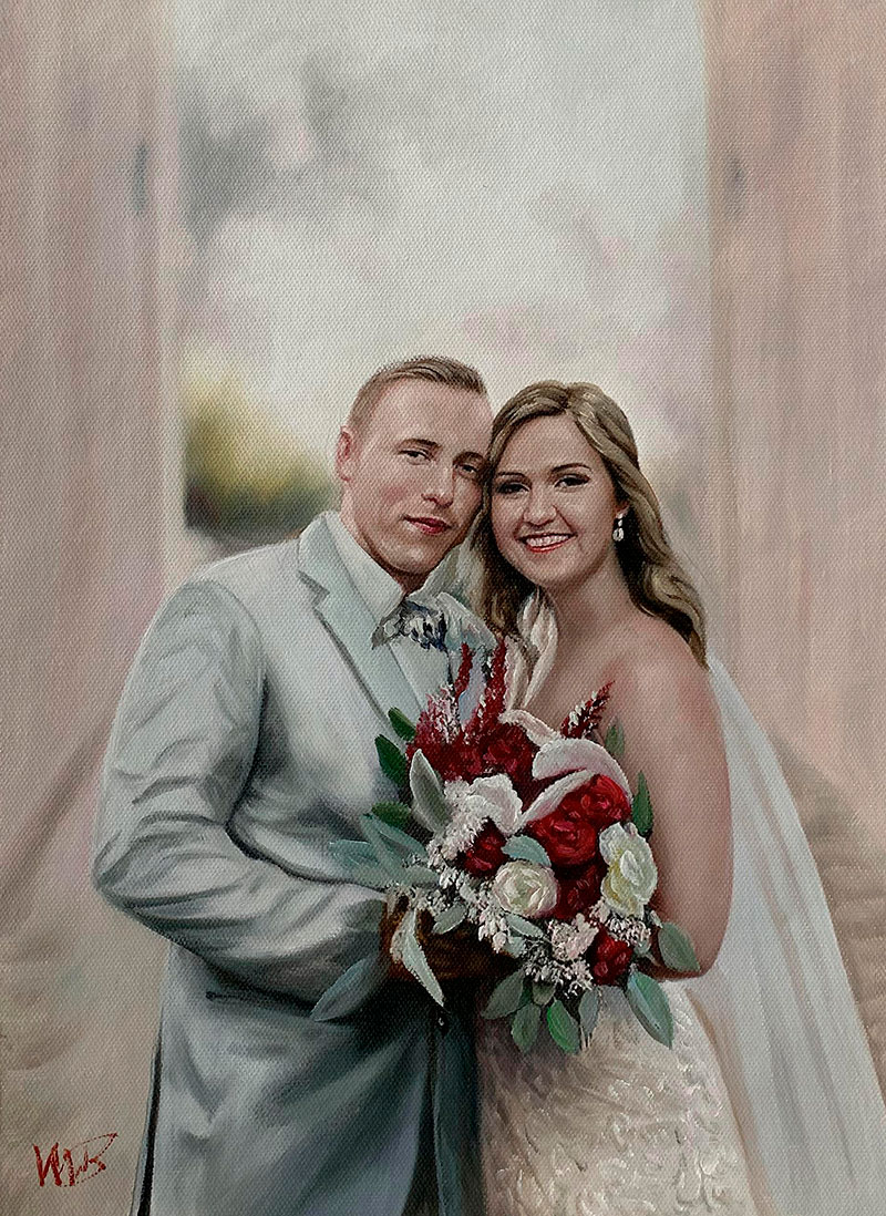 Gorgeous acrylic painting of a bride and a groom