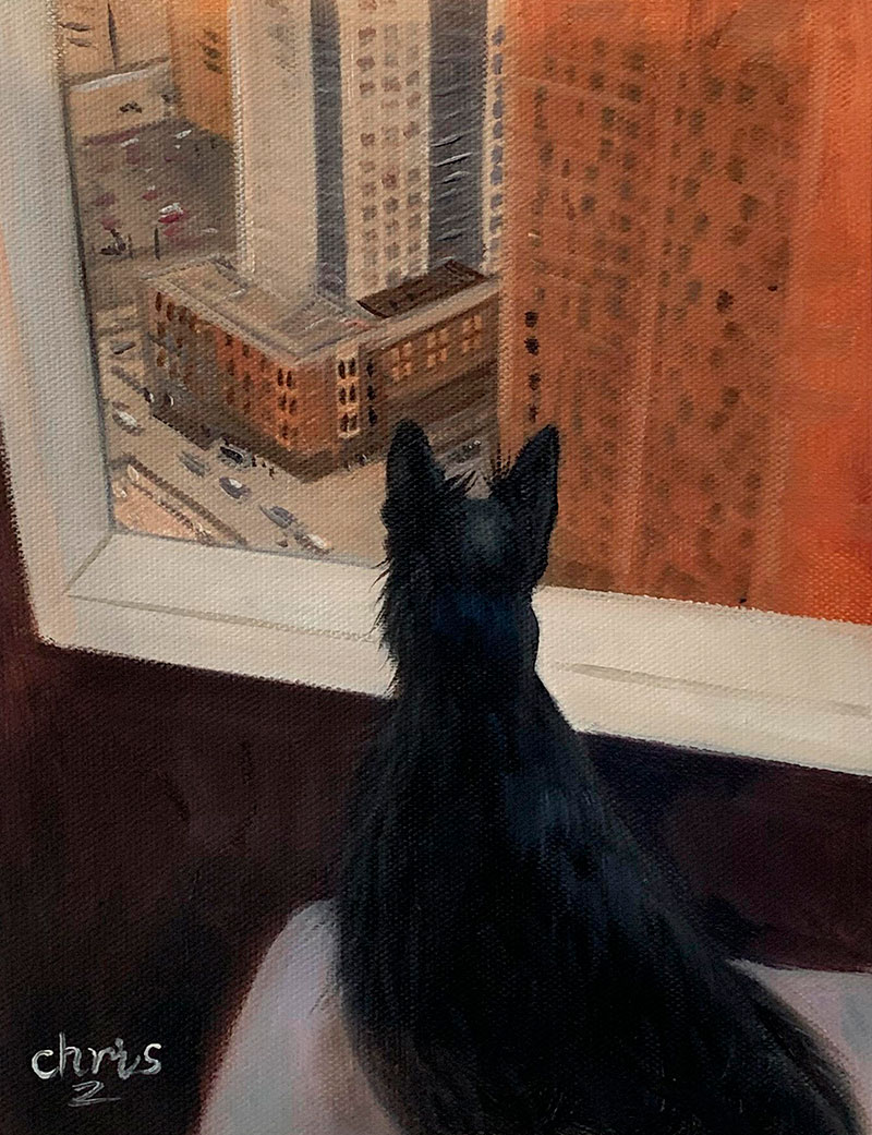 Custom oil painting of a black cat
