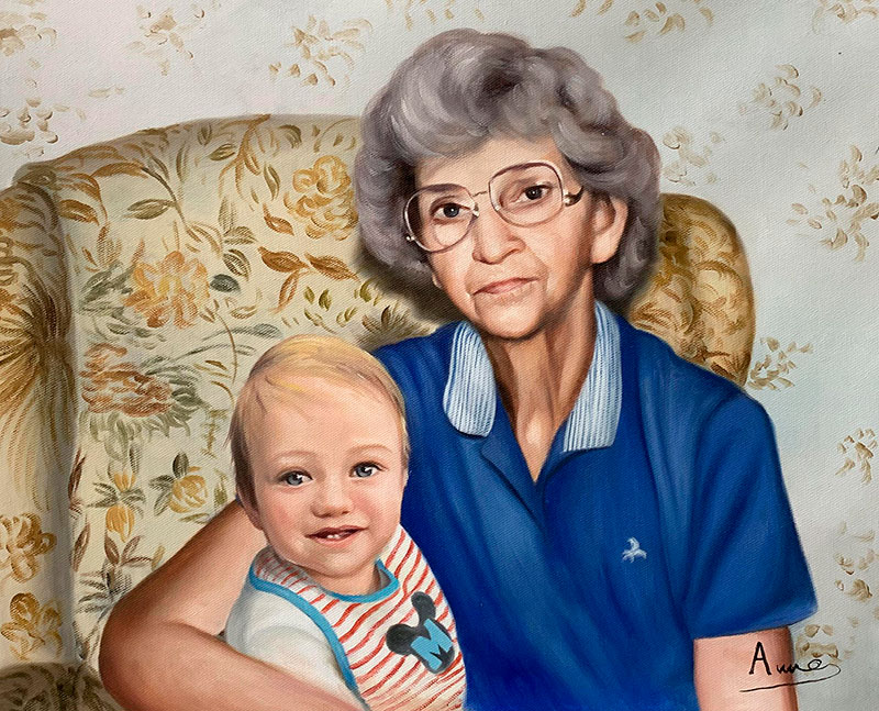 Beautiful oil painting of a grandmother with a grandson