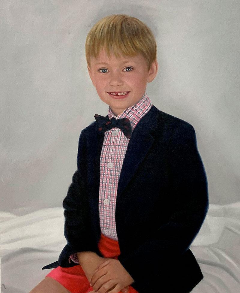 Personalized oil portrait of a boy