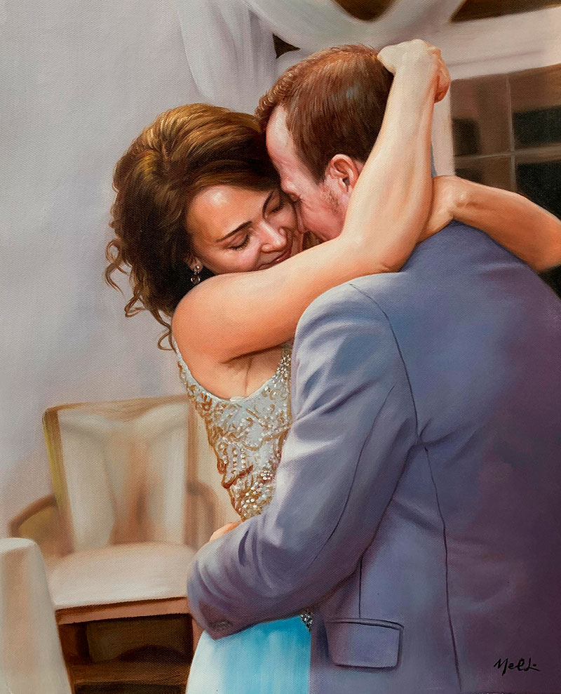 Gorgeous oil artwork of a loving couple
