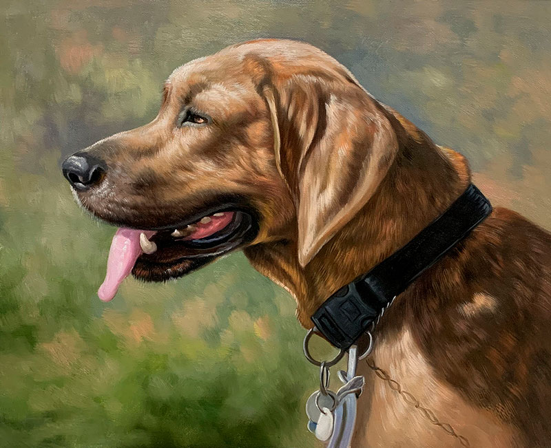 Hand drawn oil painting of a dog