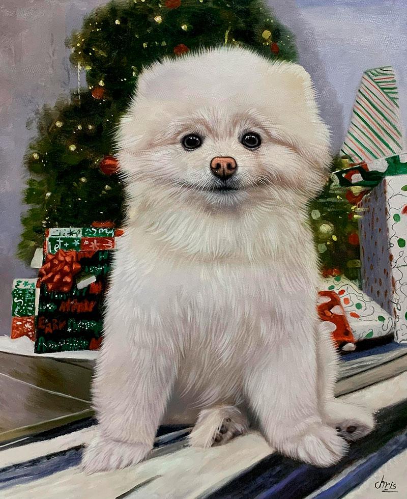 Gorgeous oil artwork of a fluffy white dog