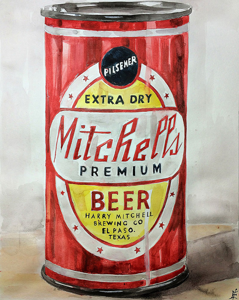 Custom watercolor painting of a can