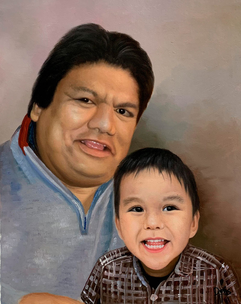 Beautiful oil painting of a man and a boy