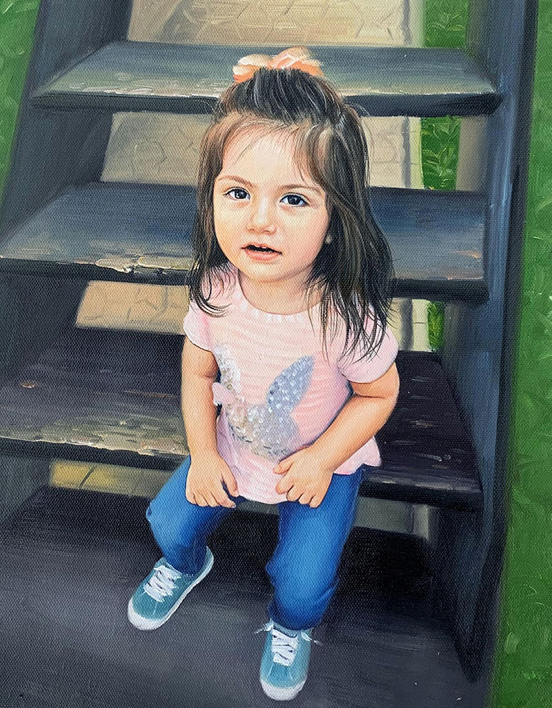 Custom oil painting of a little girl sitting on the stairs