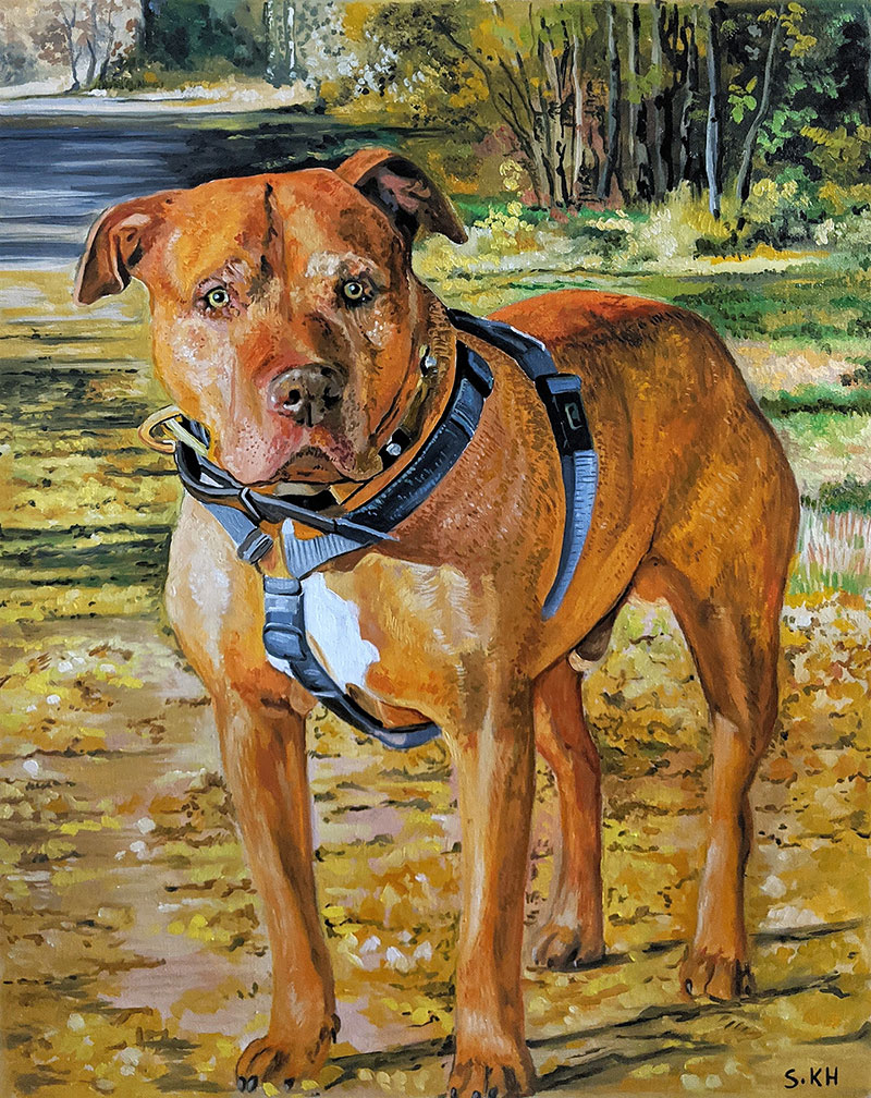 Stunning oil painting of a dog in the nature
