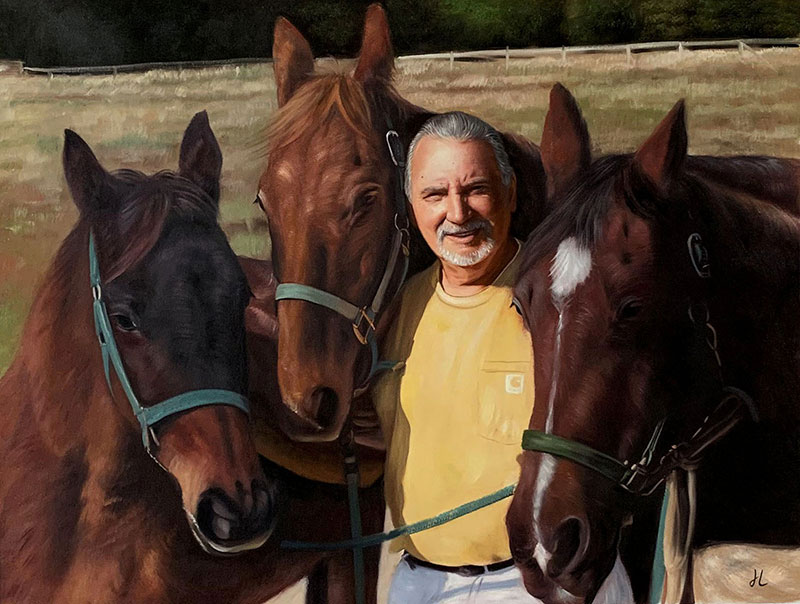 Gorgeous oil painting of a man with three horses