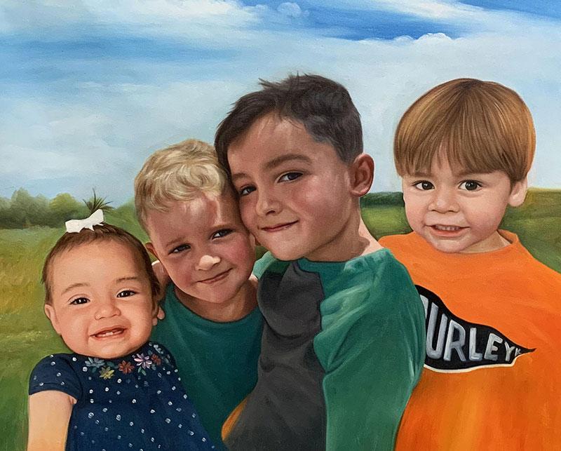Custom oil artwork of four children