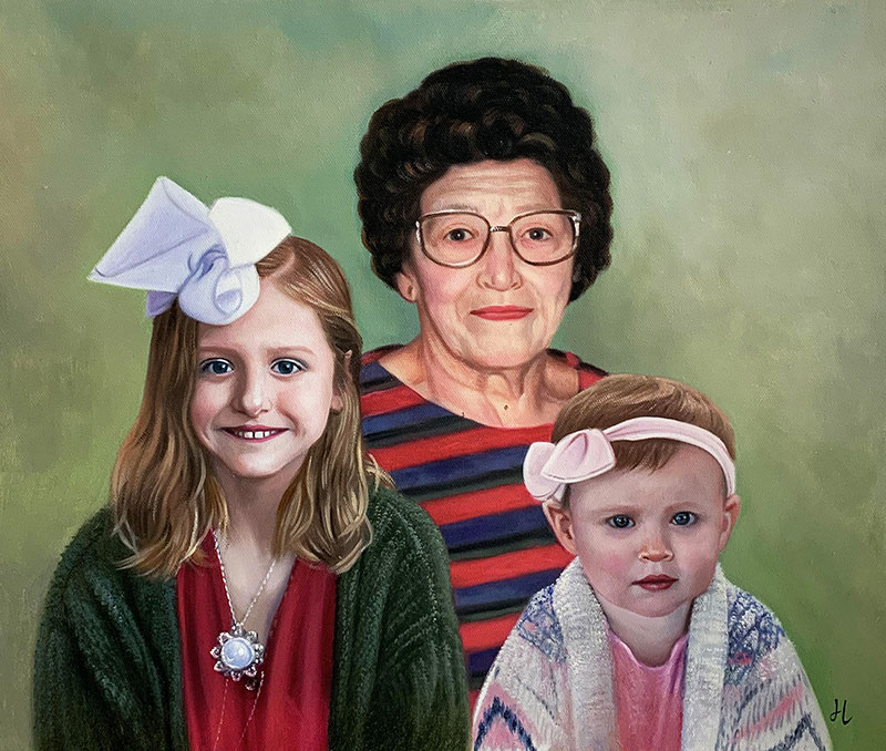 Beautiful oil artwork of a grandmother with two little girls