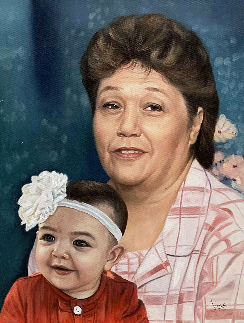Personalized oil artwork of a grandmother with a grandchild