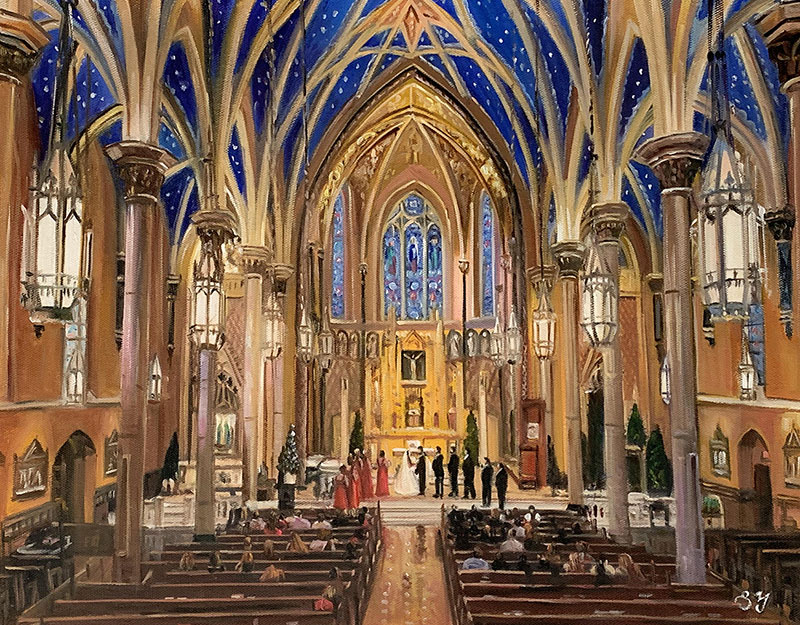Stunning acrylic painting of a wedding ceremony