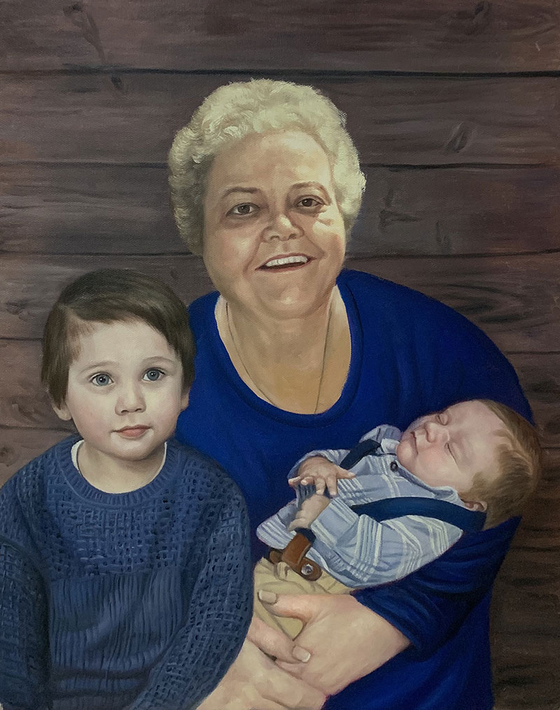 Custom oil painting of a woman and two boys