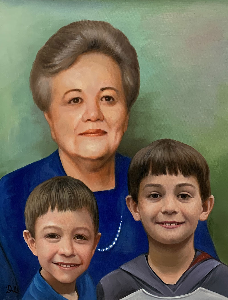 Personalized oil artwork of a grandmother and grandchildren