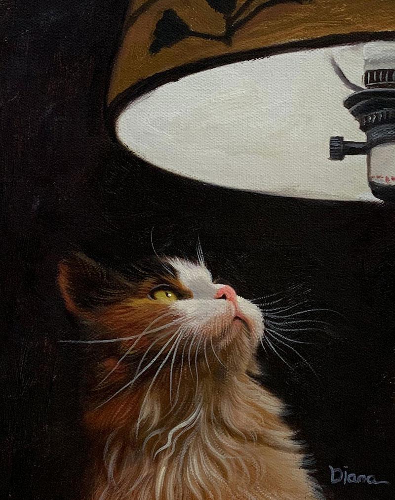 Beautiful oil artwork of a cat