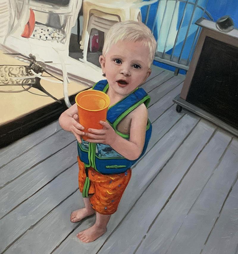 Handmade oil artwork of a little boy