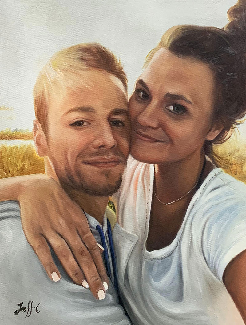 Stunning oil artwork of a hugging couple