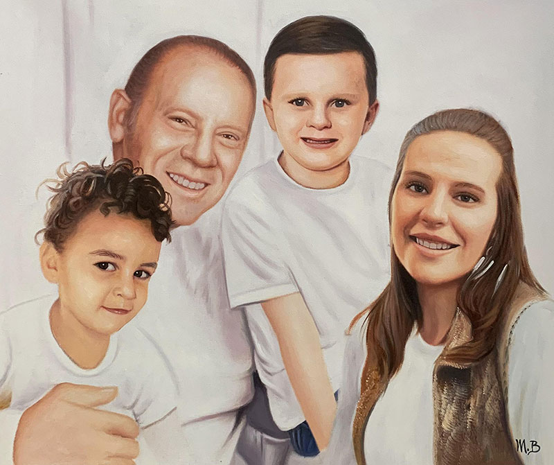 Custom oil paining of a happy family