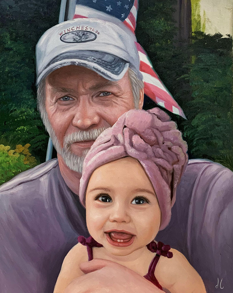 Personalized oil artwork of a grandfather and a grandchild
