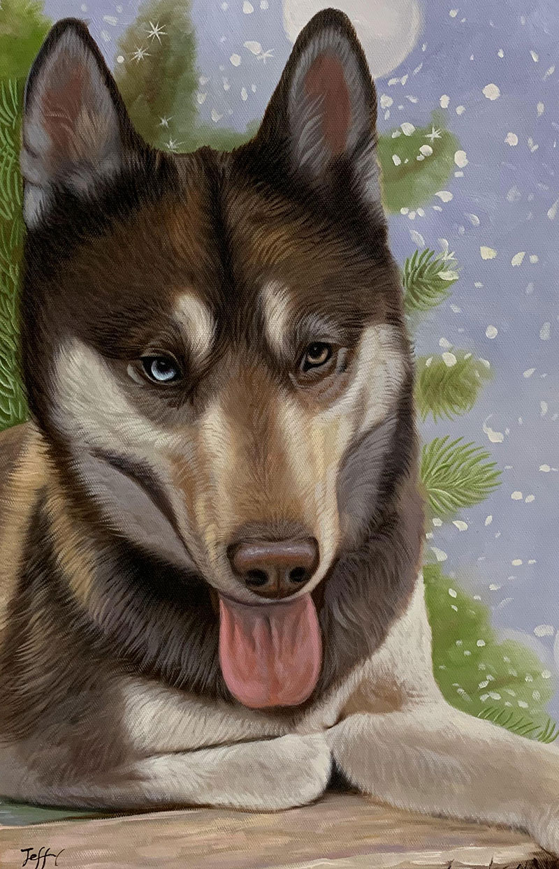Handmade oil painting of a dog