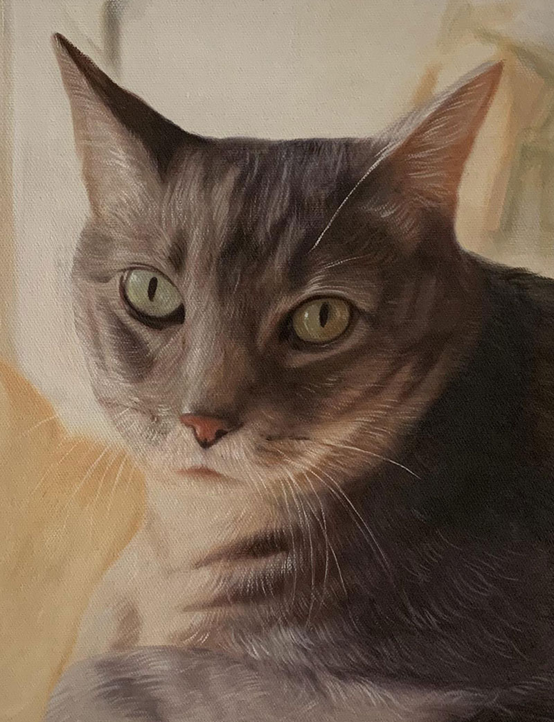 Close up oil painting of a cat
