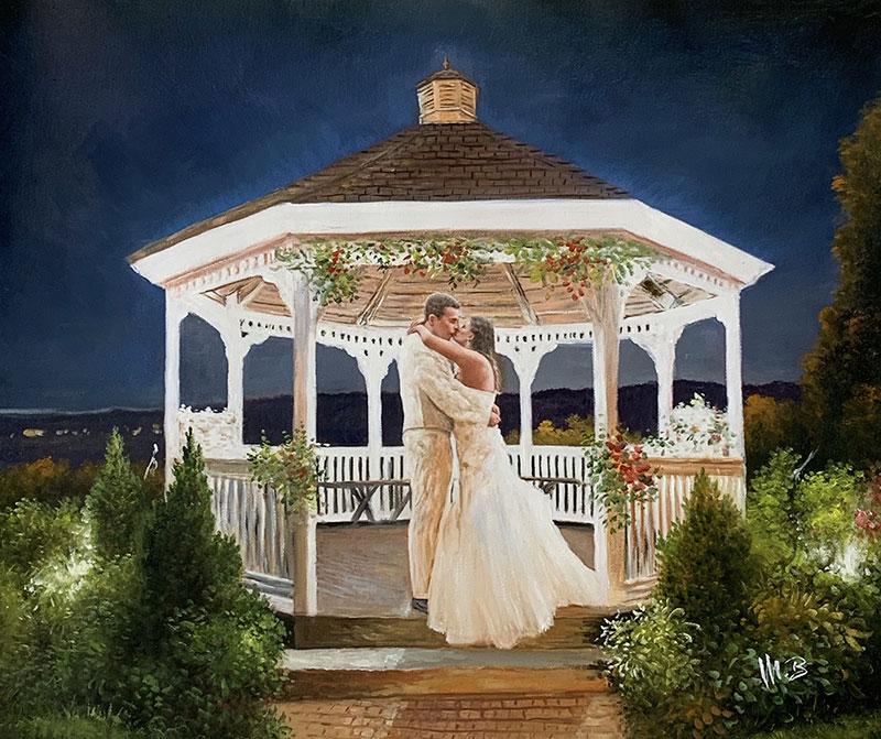 Stunning acrylic wedding portrait of a happy couple