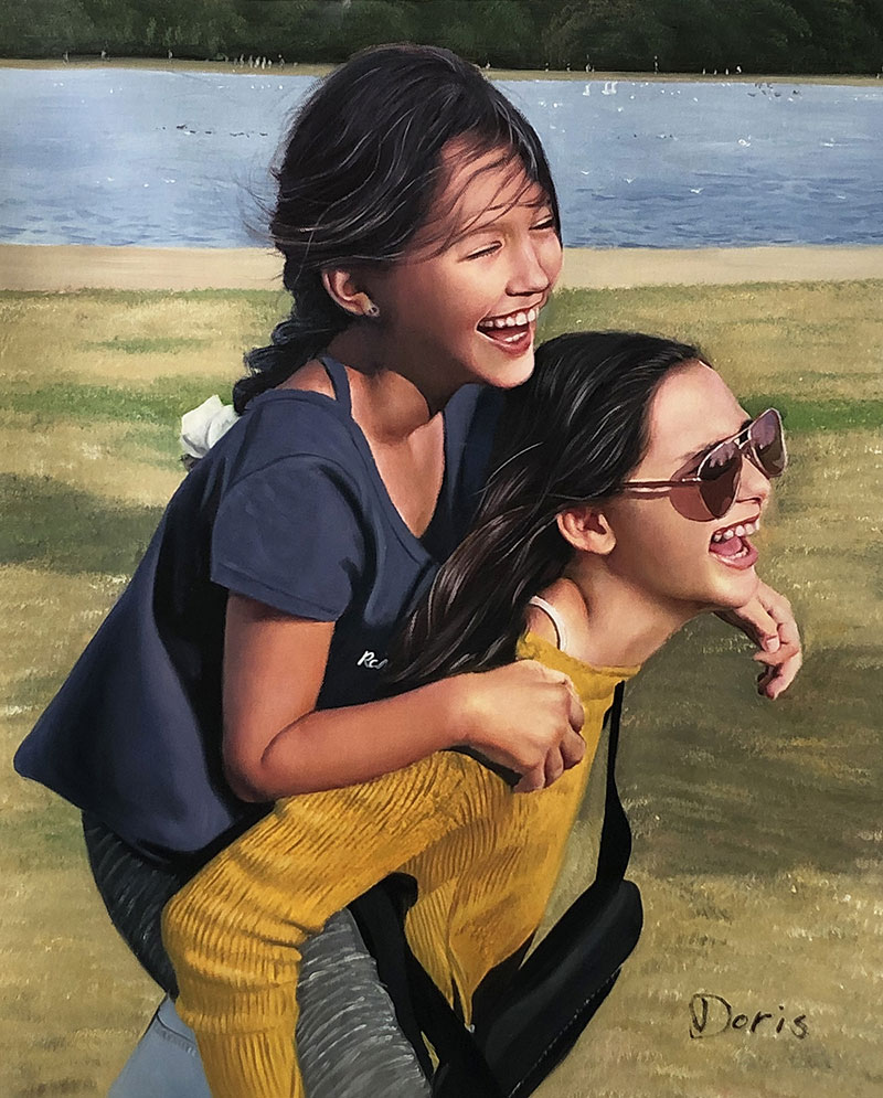 Gorgeous oil painting of the smiling friends