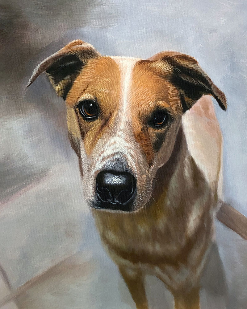 Close up acrylic painting of a dog