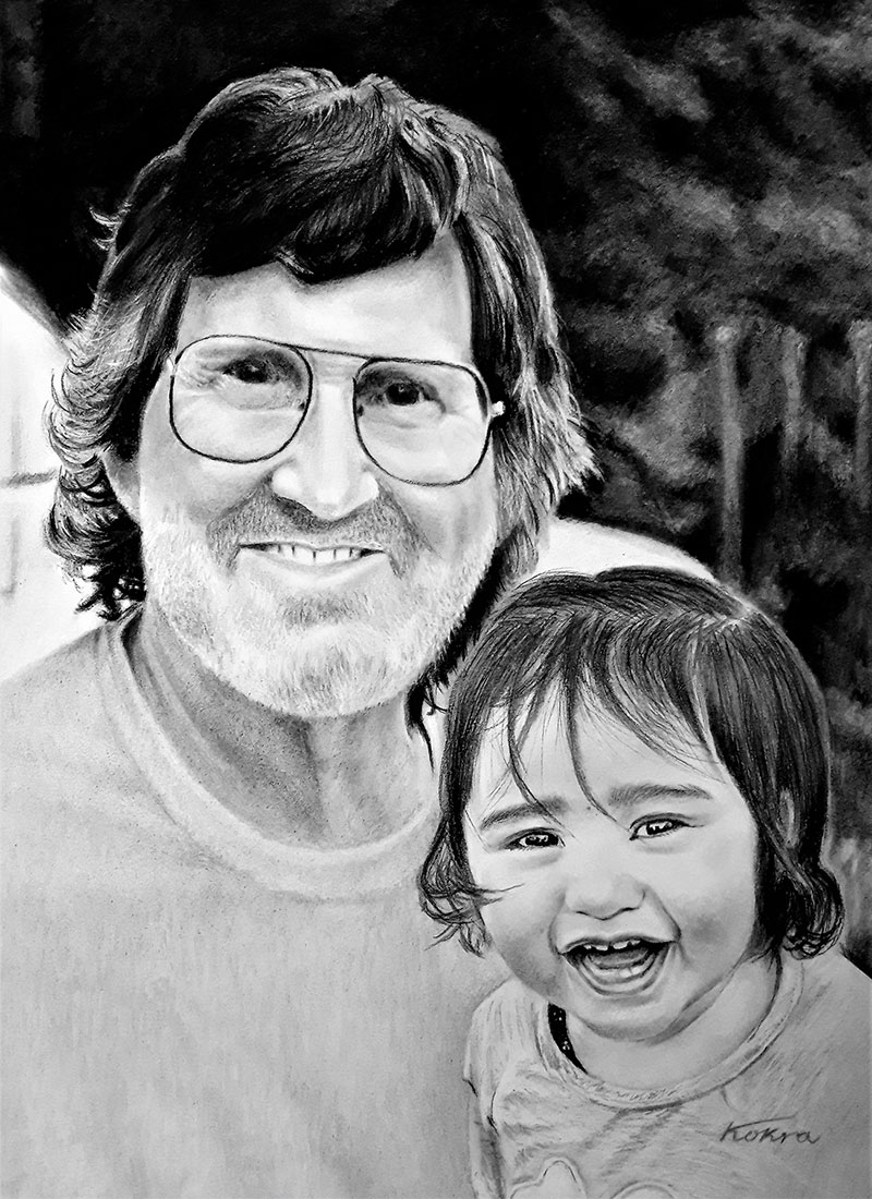 Custom charcoal portrait of a grandfather and a grandchild