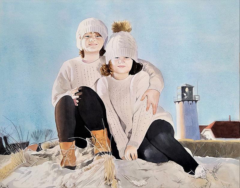 Stunning watercolor artwork of two children