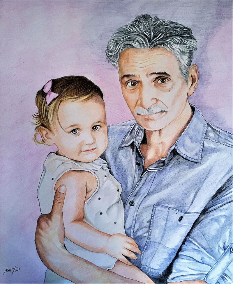 Beautiful color pencil portrait of a man and a little girl