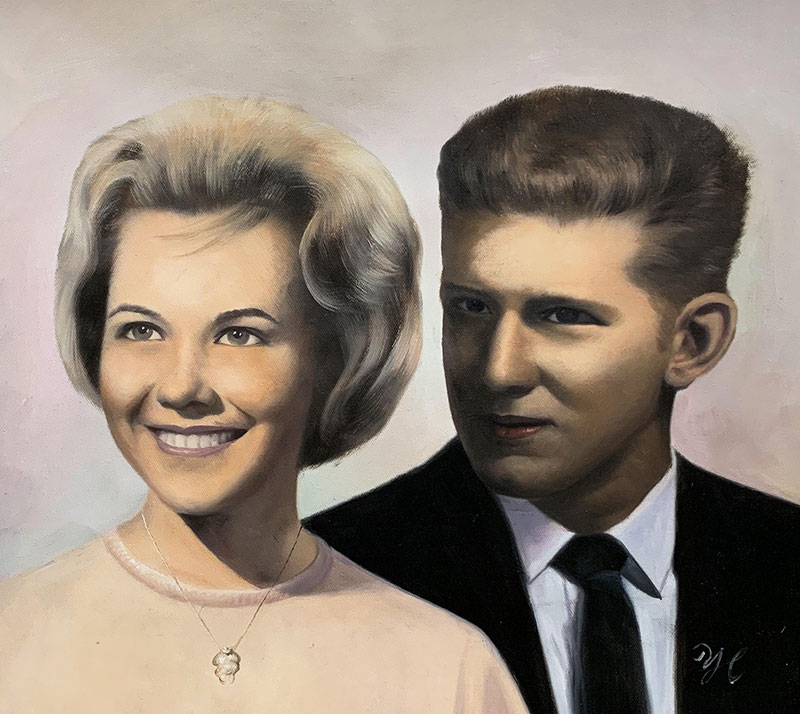 Vintage oil painting of a couple with a solid background