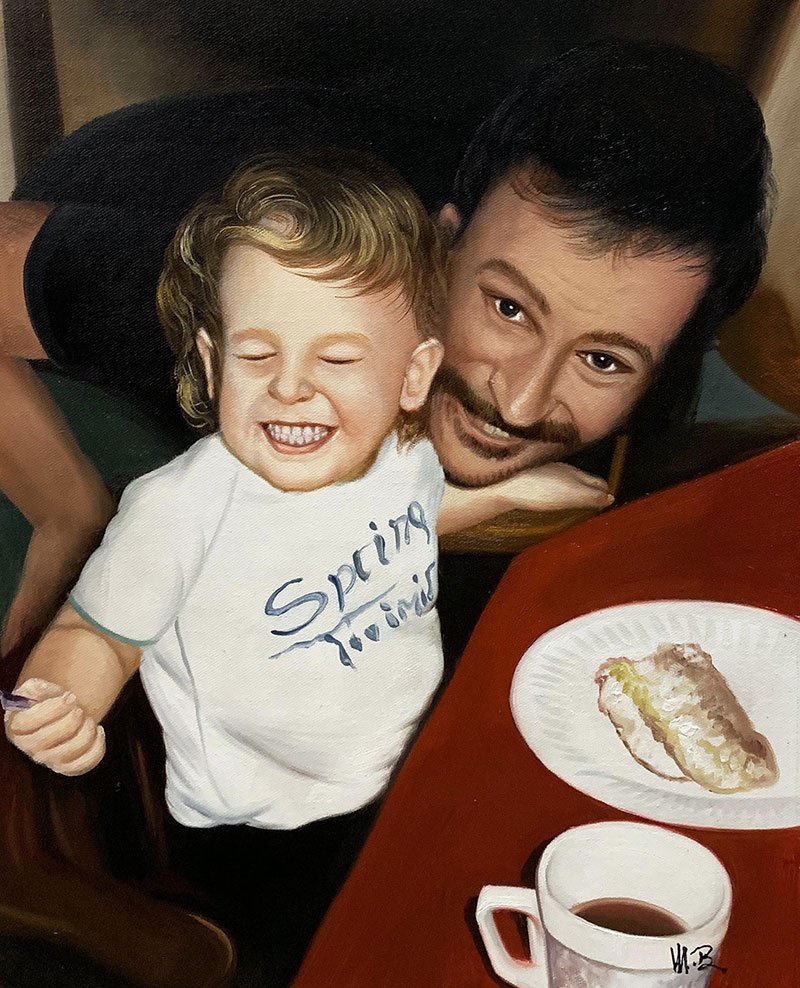 Handmade oil painting of a dad and a son
