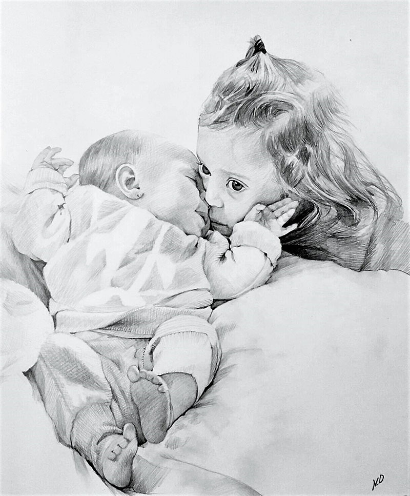 Beautiful black pencil artwork of the hugging children