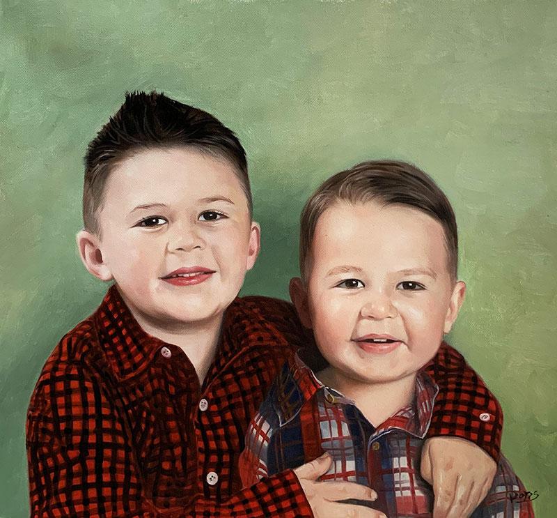 Stunning oil artwork of the two little boys
