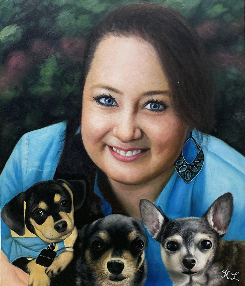 Close up oil portrait of a girl with three dogs