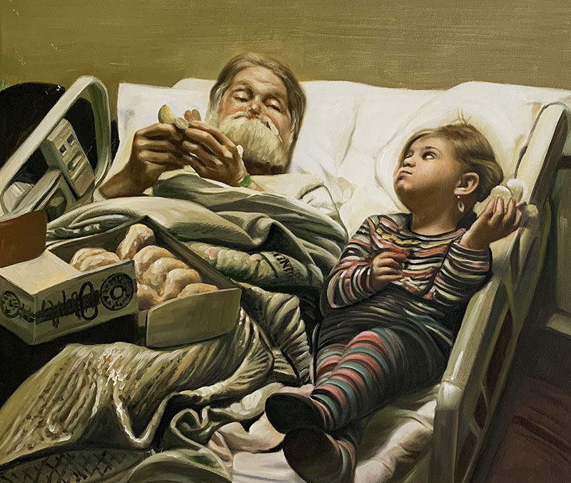 Gorgeous oil painting of a grandfather and a grandchild
