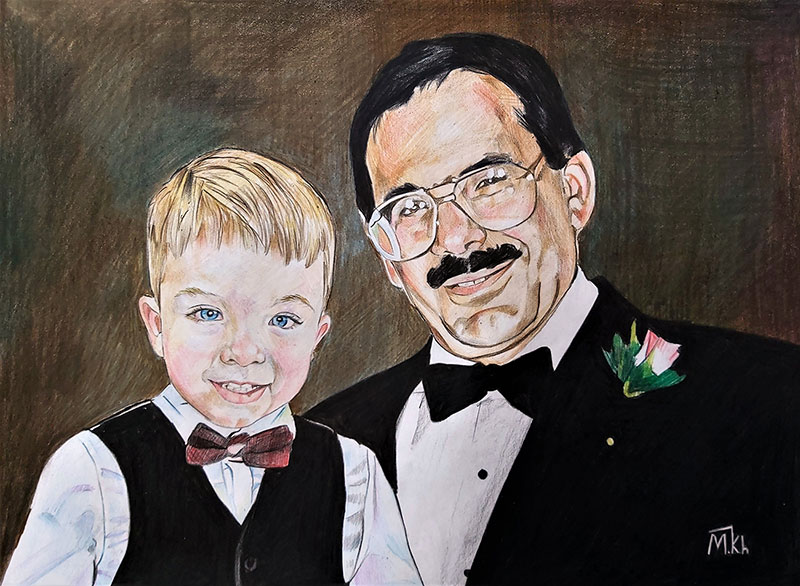 Stunning color pencil painting of a man and a child