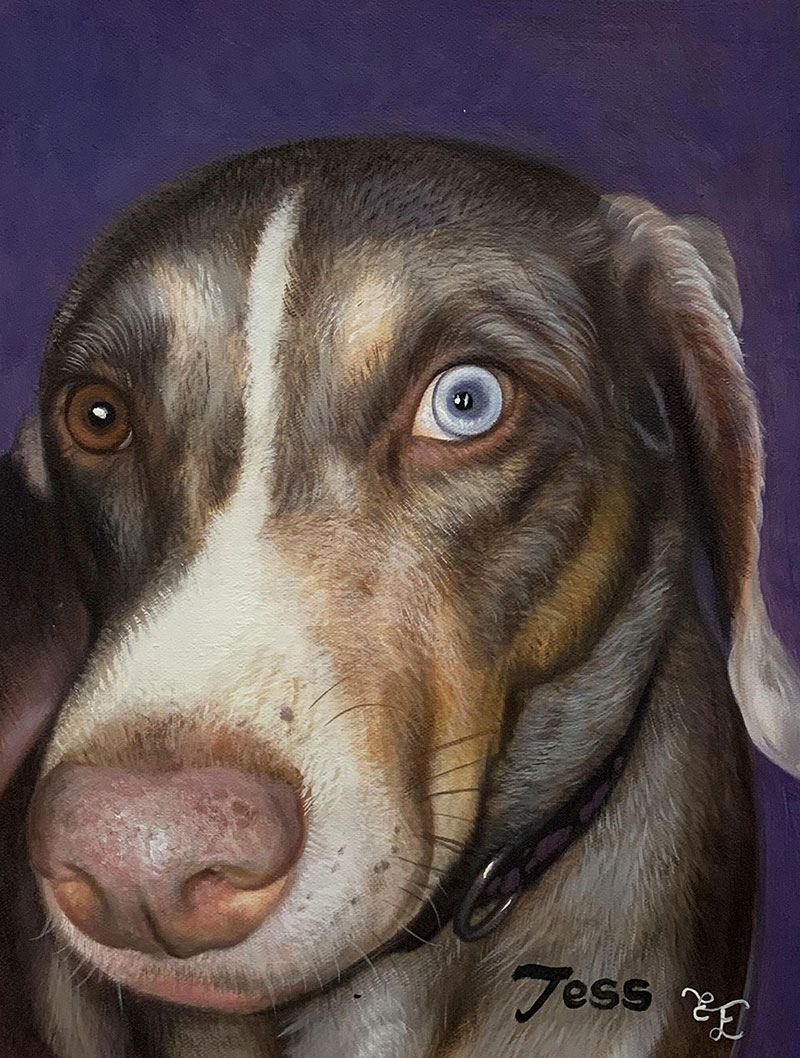 Close up oil painting of a dog with different colored eyes
