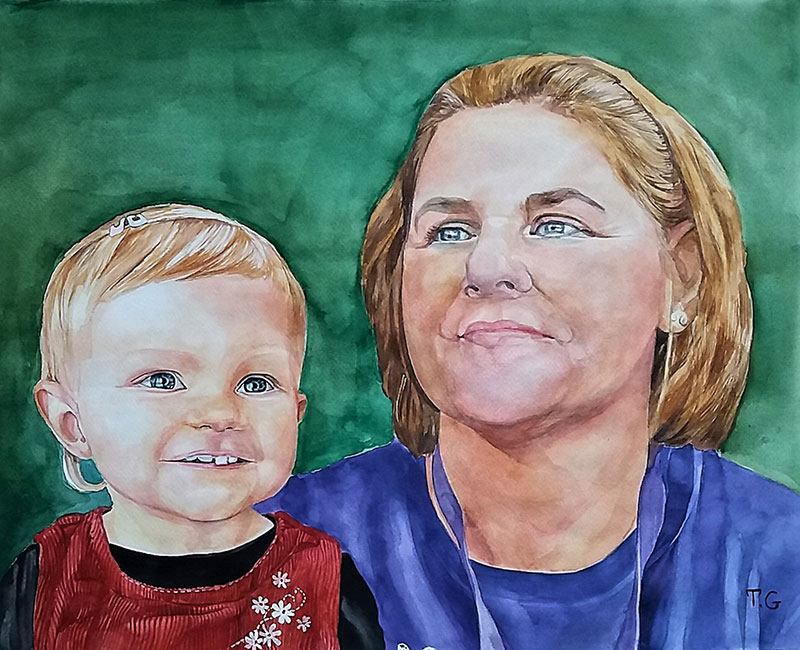 Gorgeous watercolor portrait of a woman and a child