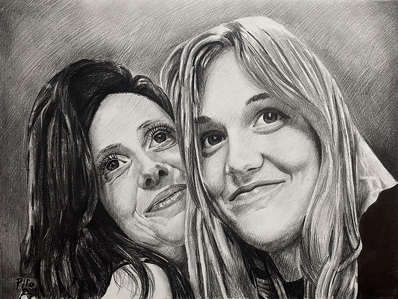 Custom black pencil painting of two women