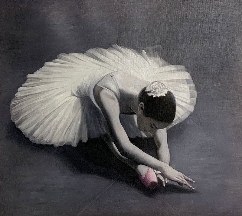 Stunning oil portrait of a ballet dancer