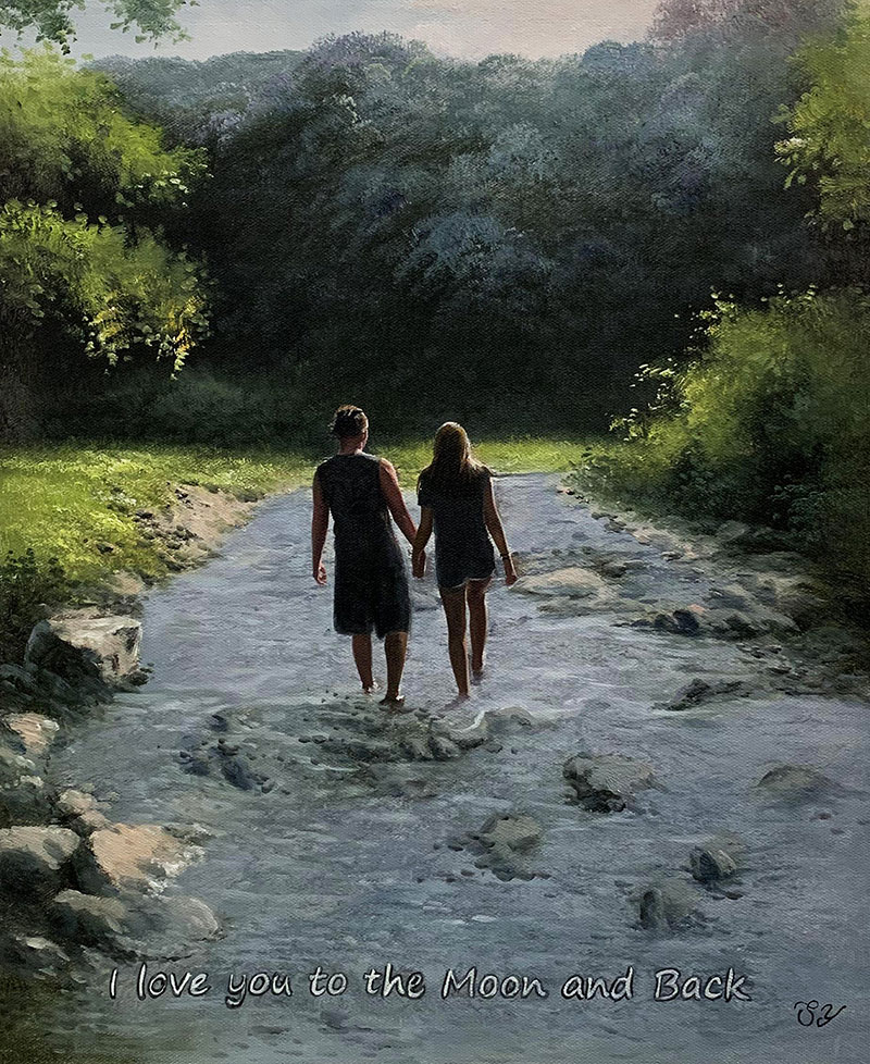 Beautiful oil painting of a couple in the nature