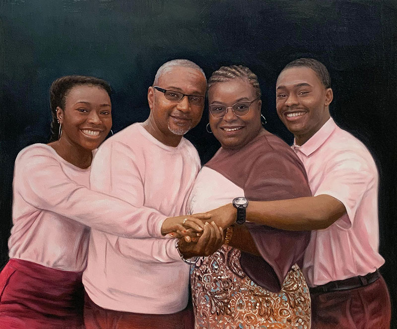 Hyper realistic oil painting of a family