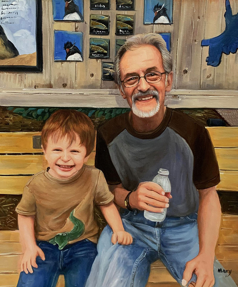 Beautiful oil painting of a grandfather and a grandson