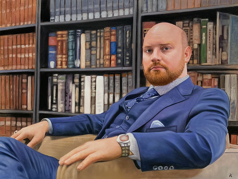 Hyper realistic artwork of a man in suit